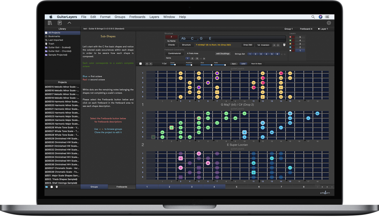 guitarLayers - guitar learning software for scales, chords and arpeggios