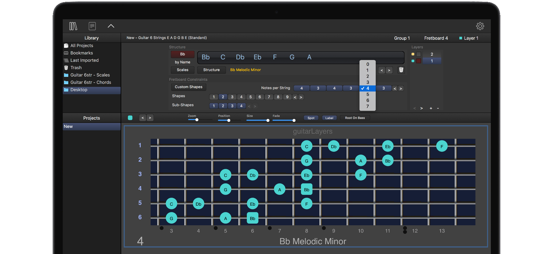 guitarLayers learning platform for scales chords and arpeggios