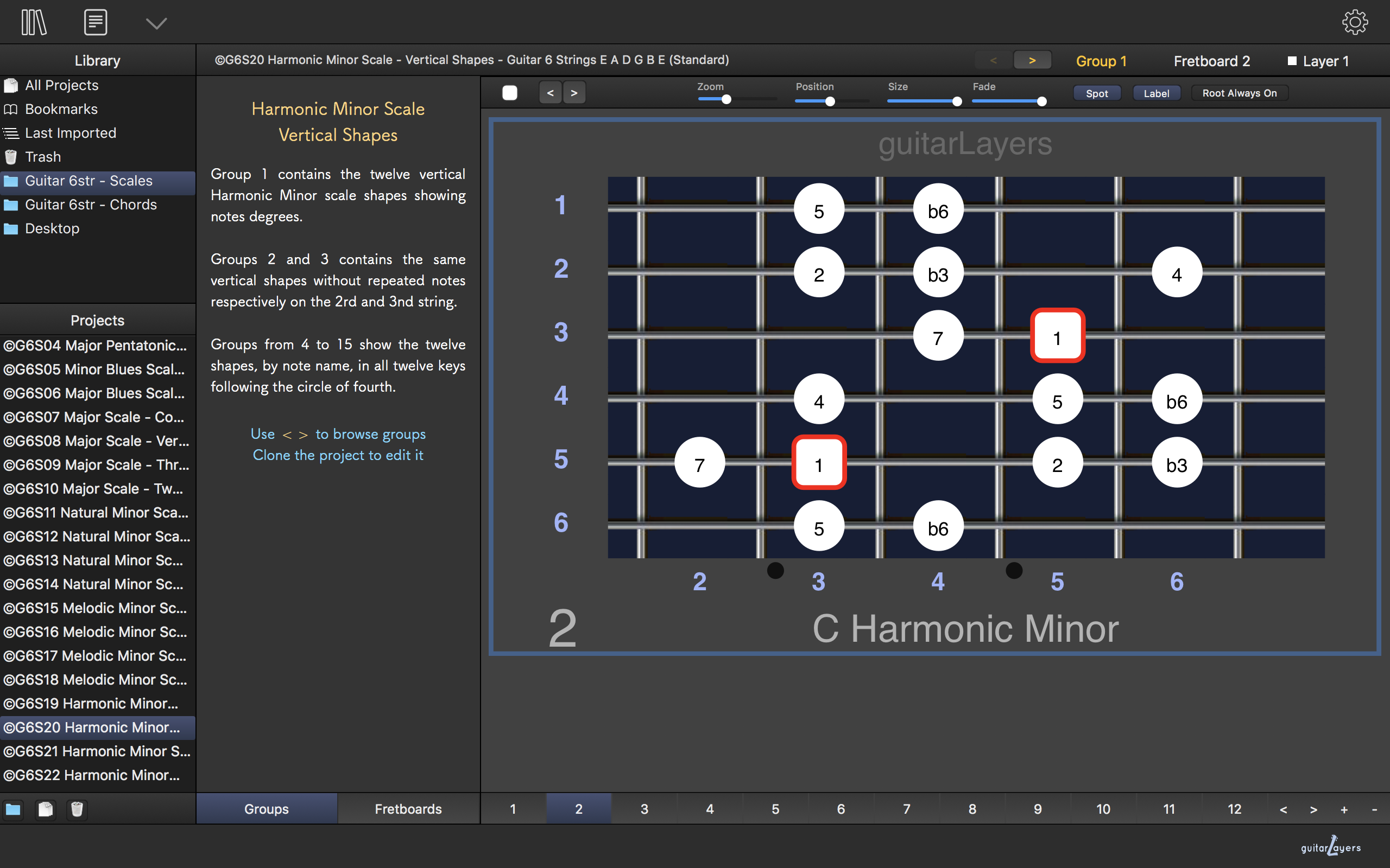 guitarLayers - guitar learning software for scales, chords and arpeggios shapes and diagrams